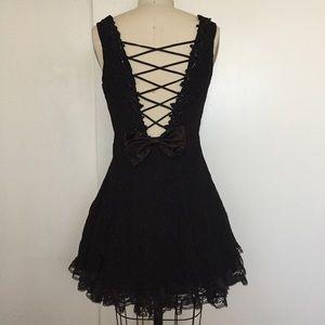 Vintage Marnie West Black Lace Party Dress